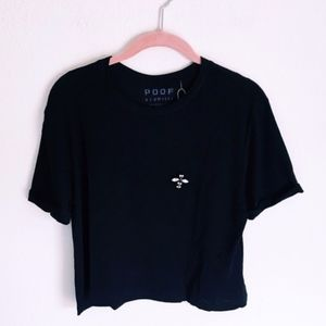 Embellished Bee Black Crop T-Shirt